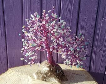 Green Aventurine, Amethyst Gem Tree, Smoky Quartz Cluster, Wrapped Wire, Crystal Healing, Spiritual Gift, Metaphysical, Pagan Altar