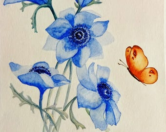 Anemones Watercolour picture butterfly and anemones
