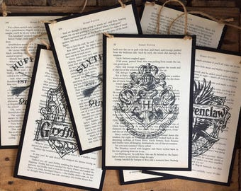 Harry Potter Book Art Poster ~  Harry Potter Poster with Recycled Book Page Art ~ Harry Potter Emblems, Designs, & Quotes