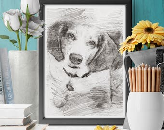 Custom Pet Portrait |Dog portrait | Personalized Gift | Cat portrait |Pencil Pet Portrait | Personalized Pet Portrait | Custom Dog Portrait