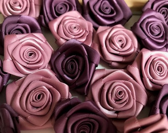 Satin Roses, 4 cm 1.5 in satin flowers, ribbon flowers, large roses, small satin flowers, craft flowers, ribbon roses and flowers