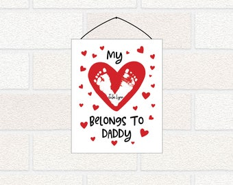 My heart belongs to daddy PRINTABLE Valentines Gift, Valentines Footprint Gift, My heart belongs to mommy, Daddy Valentine, Mommy Valentine