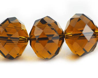 Chinese Crystal Extra Large Rondelle Amber Dark Topaz Brown 16x12mm