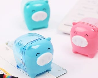 Happy Pig Pencil Sharpener / Cute Pencil Sharpeners / Kawaii Pencil Sharpeners / Pig Pencil Sharpener / Cute Stationery / Cute Stationary