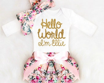Personalized baby etsy personalized newborn girl take home outfit personalized baby girl going home outfit newborn baby girl clothes negle Images