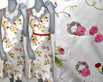Betsey Johnson Spaghetti Strap Fruit/Floral White Multi Color V-Neck Sundress 4/6 M