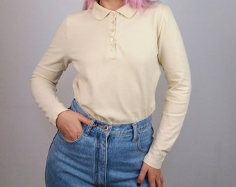 Vintage 90's Polo Shirt / Jumper / Long Sleeves Top in Cream