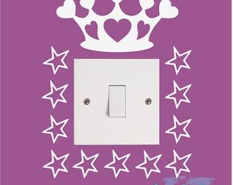 PRINCESS CROWN Stars Heart Girls Kids Childrens Bedroom Nursery Vinyl Matt Wall Light Switch Sticker Surround Decal Transfer *20 colours*
