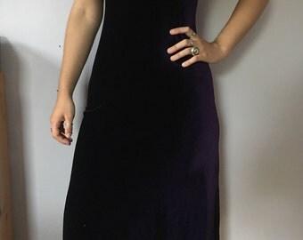 vintage purple velvet long maxi evening gown dress size 4 small