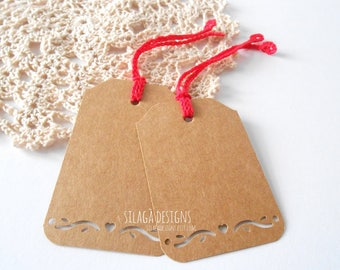 8 kraft brown blank hang tags with crochet string and heart punched edge, kraft gift tags, blank paper tags, custom labels, neat favor tags