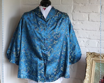 Chinese Silk Brocade Blue