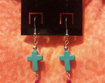 Yellow, Red and Turqoise Cross Earrings