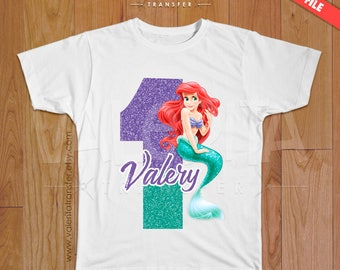 Little Mermaid iron on transfer, mermaid birthday shirt, mermaid shirt, mermaid party supplies, Disney Little Mermaid, Princess Ariel