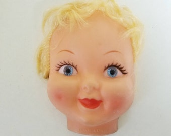 Vintage Rubber Doll Face Head with Blue Eyed 80's Rubber