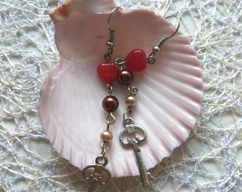 Red glass heart Silver key Earring Pearl pastel skeleton key jewelry girls birthday Cute gift sister heart gift for mom valentine's day gift