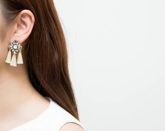 Tassel Earrings, Threaded Tassel Earrings, White Earrings, Gem Stone Earrings, Statement Earrings, White Tassel Earrings