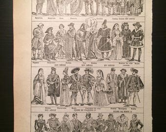 Costume Civil - Civil Costume - Antique French Dictionary Pages (Two) - Original 1940s Illustrated Lithographs