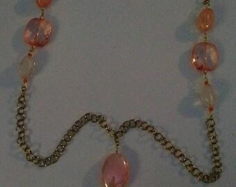 Peach beaded Y necklace