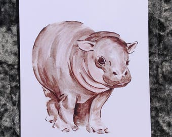 Baby hippo watercolour print