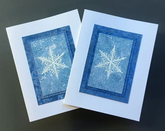Snowflake blues embossed blank cards (set of 2), individually handmade on hand-painted papers: A2, SKU BLA21036