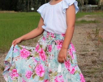 Pink Floral boho style long Skirt