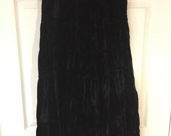 Vintage Black Velvet Skirt - Sz M
