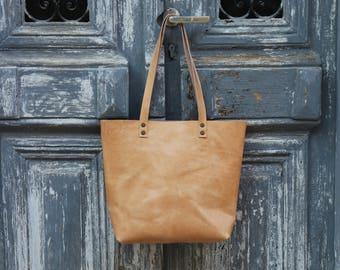 Tote bag Tote bag with pockets Medium leather tote bag  Natural color  Hand stitched shopper bag handmade shoulder bag  with inside pocket