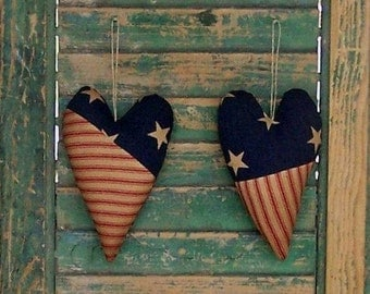 2 Patchwork Hearts, Primitive Country Decor, Americana Heart Ornaments, Patriotic Decor, Red White Blue #2 - READY TO SHIP