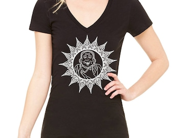 Happy Buddha Women's Graphic Tee Shirt, Hand Printed Cotton Blend, Crew Neck, Vneck, Iris, Black, Gift for Women, Buddha Bliss