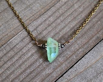 Green Quartz Point Pendant Natural Irridescent Green Quartz Crystal Necklace Antique Bronze Wire Wrapped Crystal Bronze Chain Raw Beauty