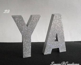"""SILVER GLITTER LETTERS- Personalized Standup or Wall Letters, Super Sparkling Octagon/Prisma Glitter- 8"""" or 12"""" Initials,Names,Words in A-Z"""