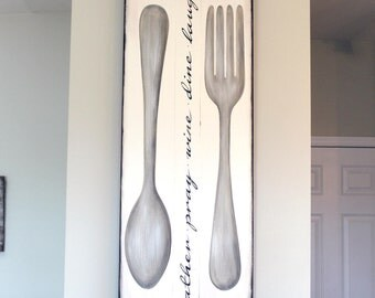 Large Silverware Sign -Price Reduced- Dining Room Wall Art - Fork and Spoon