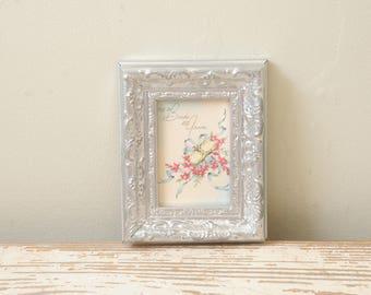 1940 Tiny Wedding Card Framed Silver