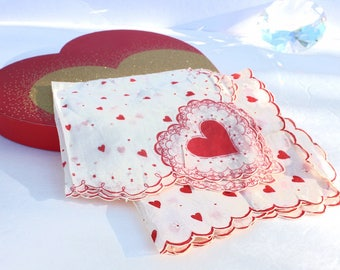 Two Large Red Heart Hankerchiefs  ~ Valentine Hankies w/ White Flowers and Doves Set