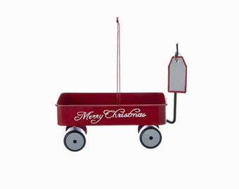 Red Wagon Personalized Christmas Ornament / Merry Christmas / Hand Personalized Name or Message