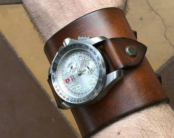 Large Leather Cuff for wrist Watch 22mm Strap Bracelet Steampunk