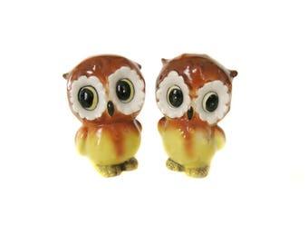 Owl Salt and Pepper Shaker Set, Vintage Japan Kitsch Owl, Owl Decor, Owl Figurines
