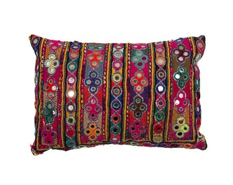 Embroidered Rajasthani CUSHION COVER with pad – Design 1 – 25 x 36 – Cotton and Couched Metal Embroidery