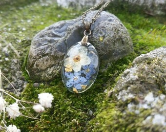 Forget Me Not Necklace - Pressed Flower Necklaces - Forget Me Not Jewelry - Floral Resin Jewelry - Pressed Flower Jewelry - Gold Flakes