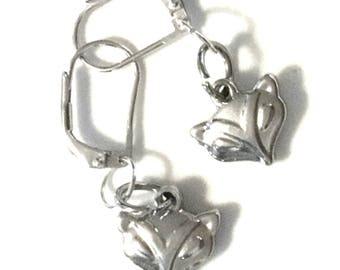 Miniature Fox Earrings, Antique Silver Earrings, Earring Gift for Her, Tiny Fox Earring Gift, On Trend Earrings, Every Day Earring Gift