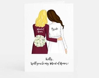 Asking Bridesmaid, Bridesmaid Proposal Card, Custom Bridesmaid Card, gift maid of honor, will you be my matron of honor, Thank You card