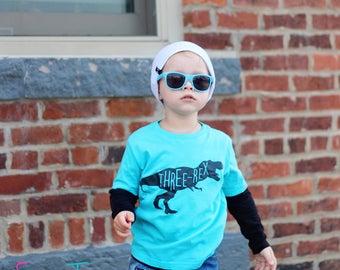 Third Birthday Shirt Three rex  Shirt Dinosaur Birthday Shirt Boy Girl Heather Tshirt Kids Toddler Top Shirt