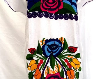 Mexican Dress Short WHITE color beautifully embroidered Floral Bouquet in multi-color - Peasant One Size may fit up to 3XL Mexican Clothing