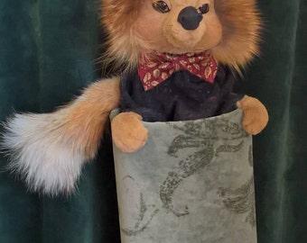 pot peeking fox, fox with jacket, hiding lovely animal