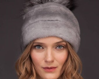 Natural Sapphire Gray Real Mink Fur Hat With Leather Inserts And Big Fox Fur Pom-Pom