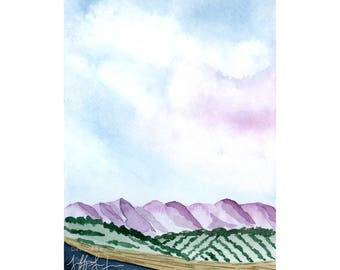 Purple Mountain Art Print, Mountain Wall Art, Landscape Watercolor Painting, Giclee Fine Art Print, Nature Illustration, Colorful Wall Decor