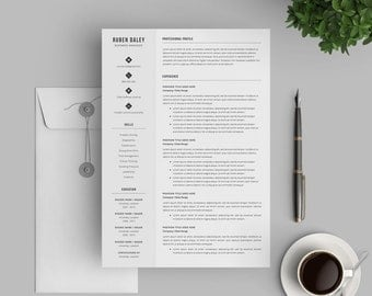 Professional Resume Template | Modern Resume Template for Word | Instant Download | 1, 2 and 3 Page Resume | For Mac & PC | Cover Letter
