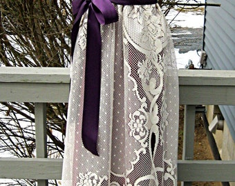 Wine and plum prom dress, formal dress, boho lace dress, one of a kind dress, party dress, with ivory lace skirt, size small, Lily Whitepad