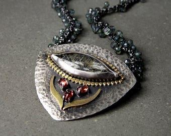 Rutilated Quartz, Red-Orange Sapphire, Green Mystic Quartz, Sterling Silver & 14K Yellow Gold Necklace