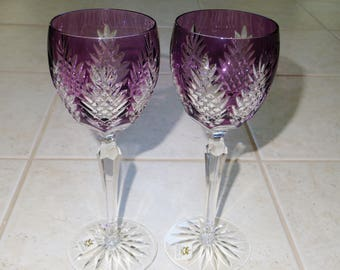"""2 AJKA DESIGN GUILD 9"""" Tall Amethyst Purple Water Wine Stem Goblets Cased Glass Cut Clear Crystal Fan Crisscross Pineapple Hungary Excellent"""